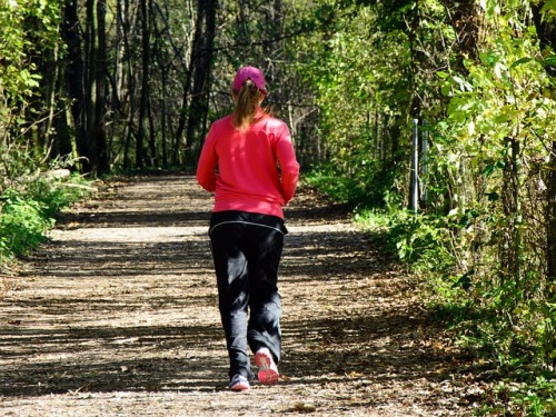 jogger in woods