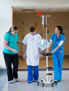 Patient walking in hospital