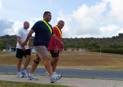 Overweight men walking